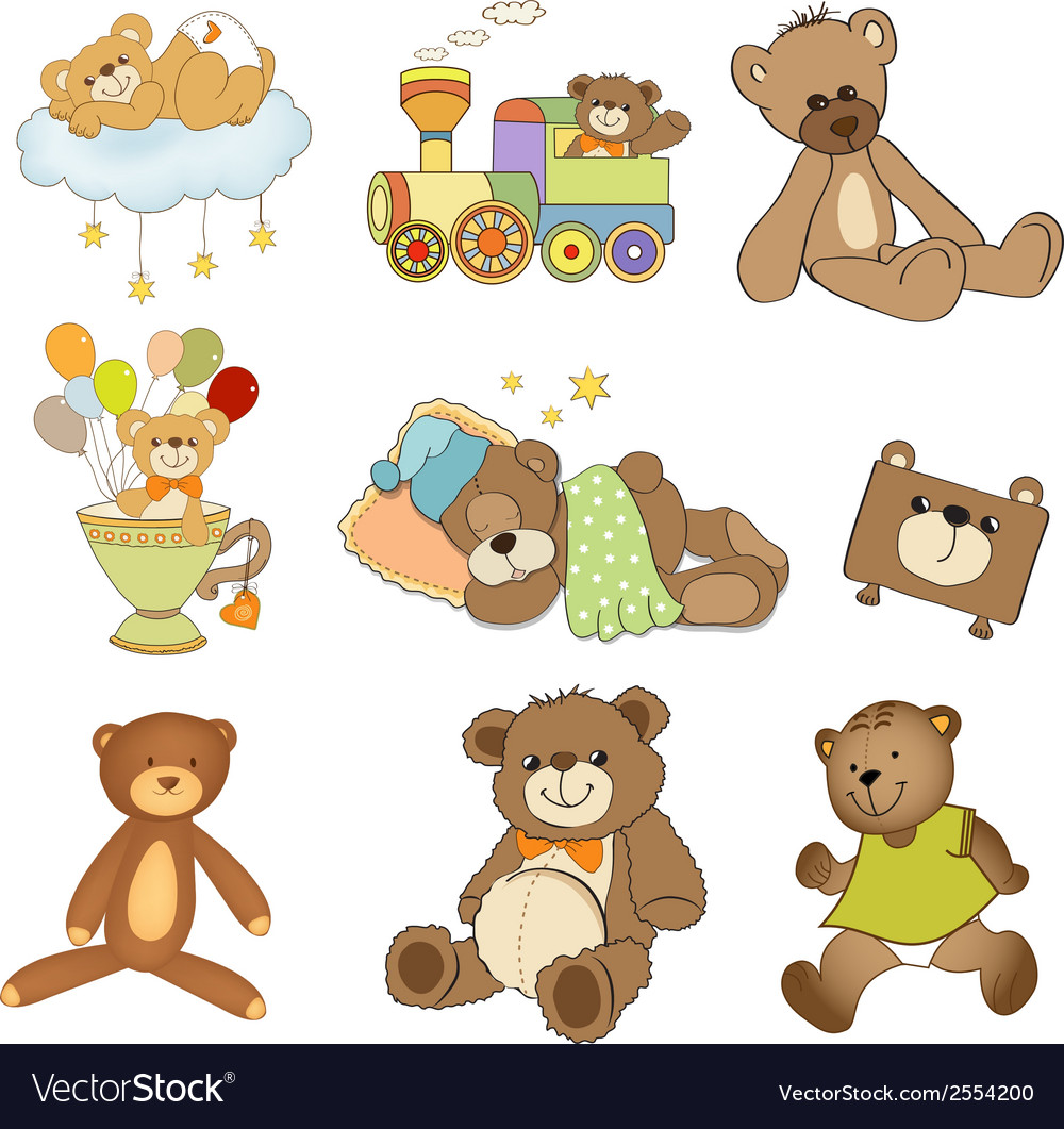 Funny teddy bears set isolated on white background vector | Price: 1 Credit (USD $1)