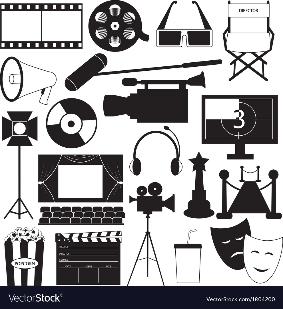 Movie icons collection vector | Price: 1 Credit (USD $1)