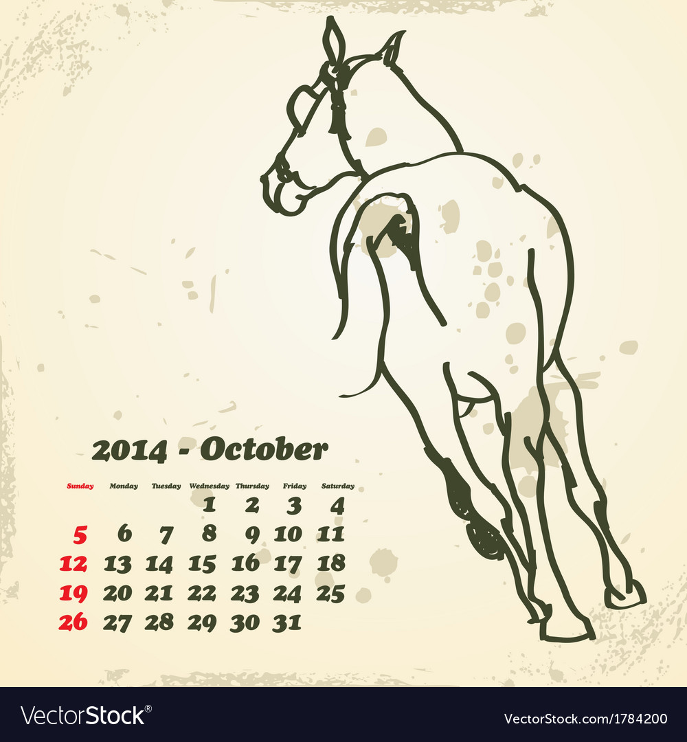 October 2014 hand drawn horse calendar vector | Price: 1 Credit (USD $1)