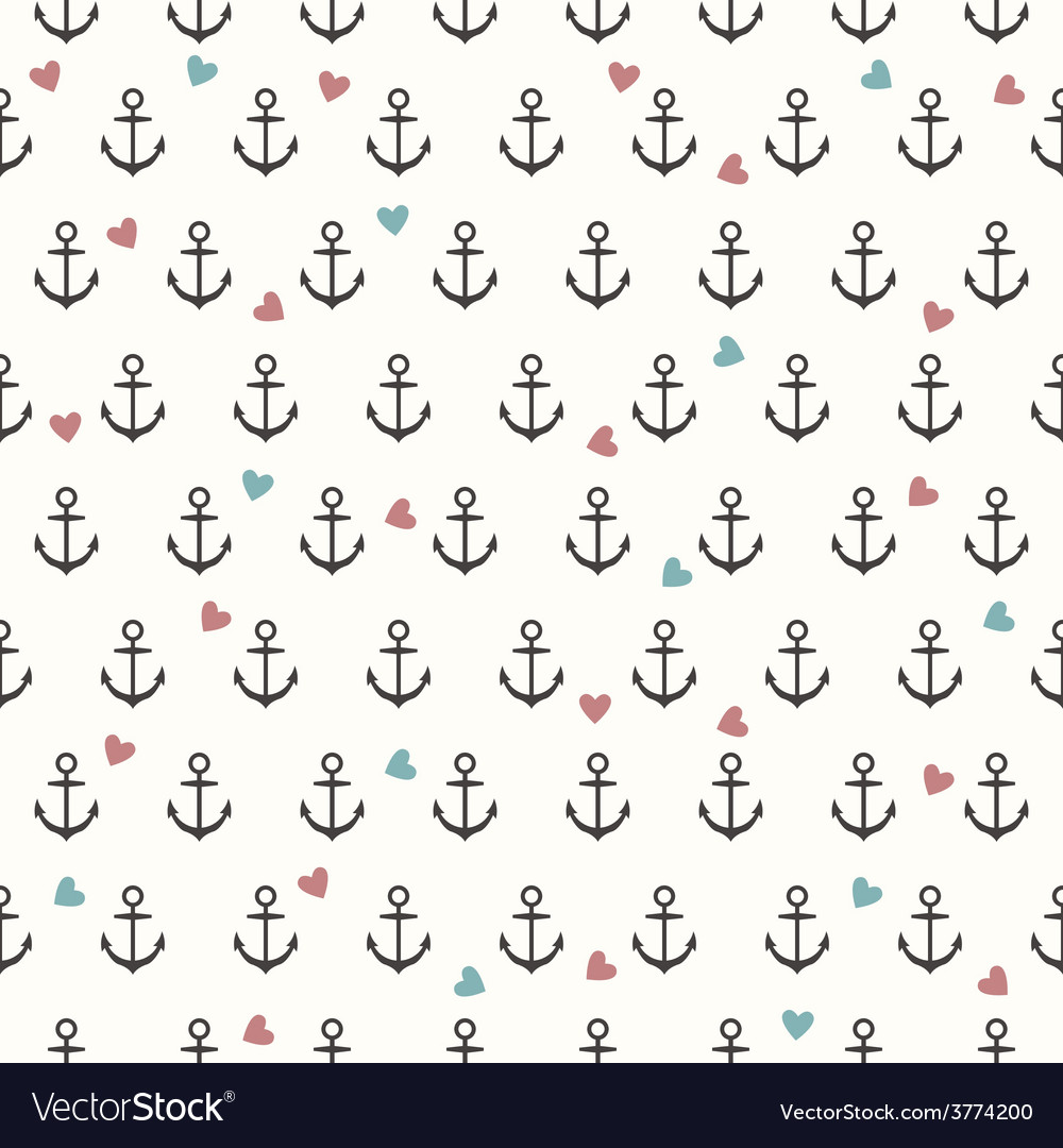 Seamless pattern with grey anchors and hearts vector | Price: 1 Credit (USD $1)