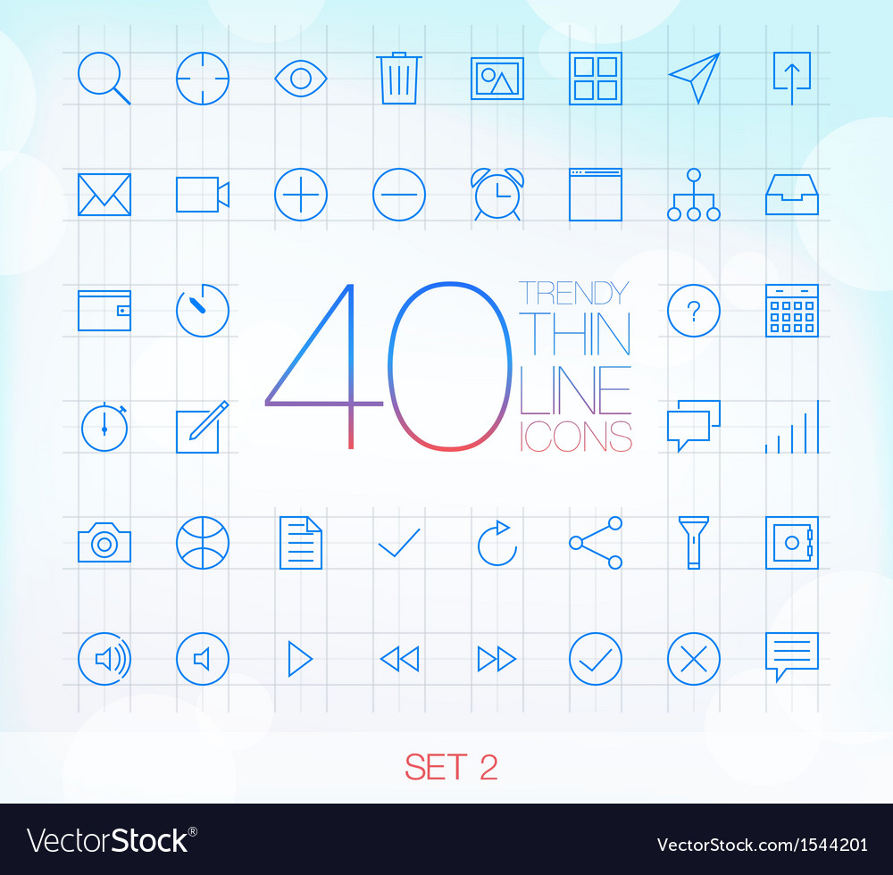 40 trendy thin icons for web and mobile set 2 vector | Price: 1 Credit (USD $1)