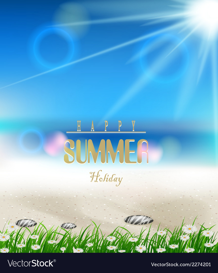 Beach summer background with grass vector | Price: 1 Credit (USD $1)