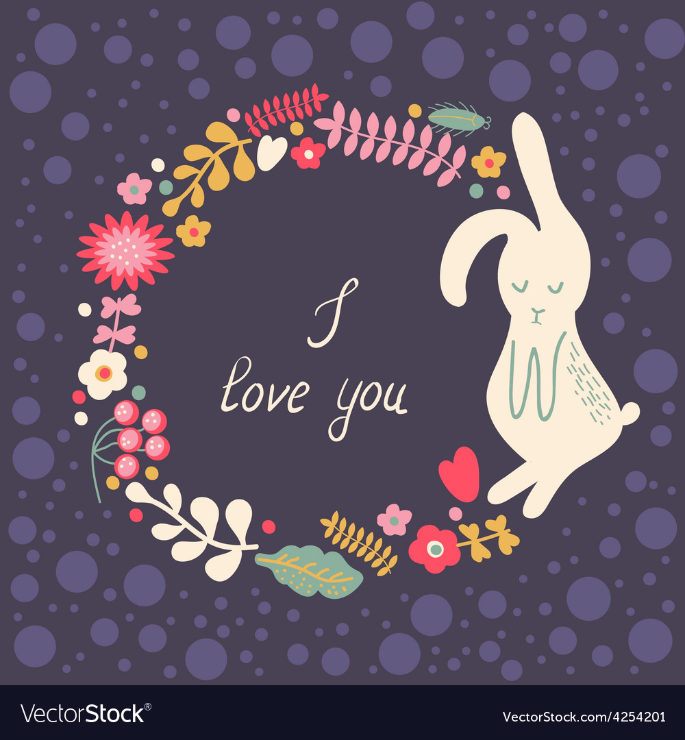 Floral frame with hare vector | Price: 1 Credit (USD $1)