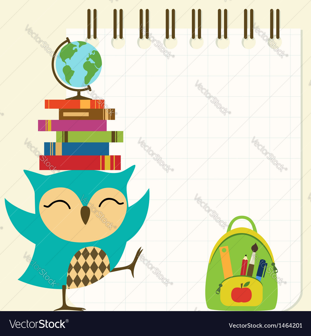 Happy little owl - back to school vector | Price: 1 Credit (USD $1)