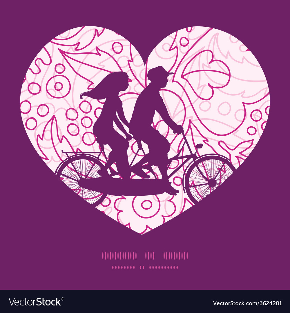 Pink flowers lineart couple on tandem bicycle vector | Price: 1 Credit (USD $1)