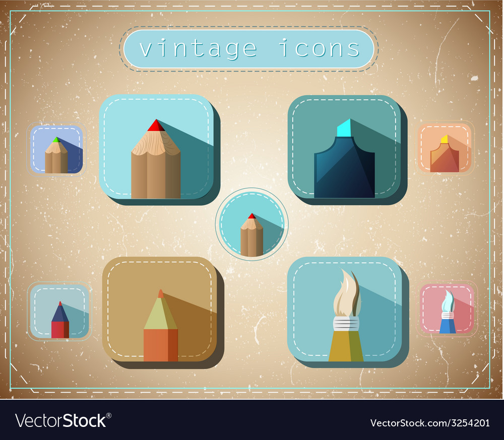 Vintage icons set vector | Price: 1 Credit (USD $1)