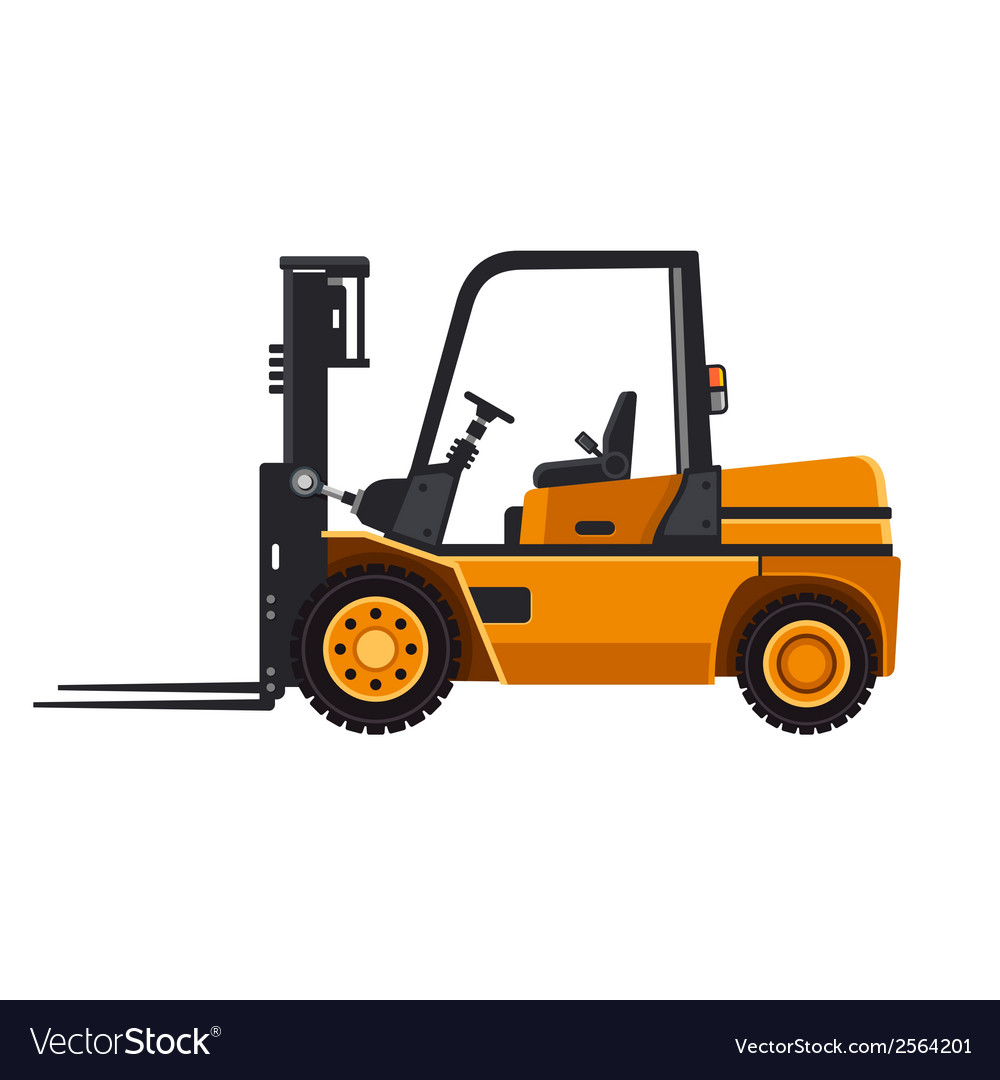 Yellow forklift loader truck isolated on white vector | Price: 1 Credit (USD $1)