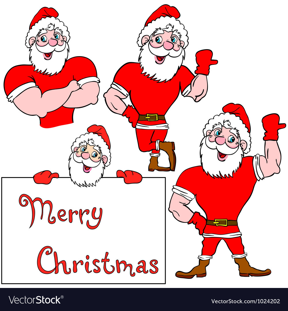 A set of pictures muscular santa claus vector | Price: 1 Credit (USD $1)