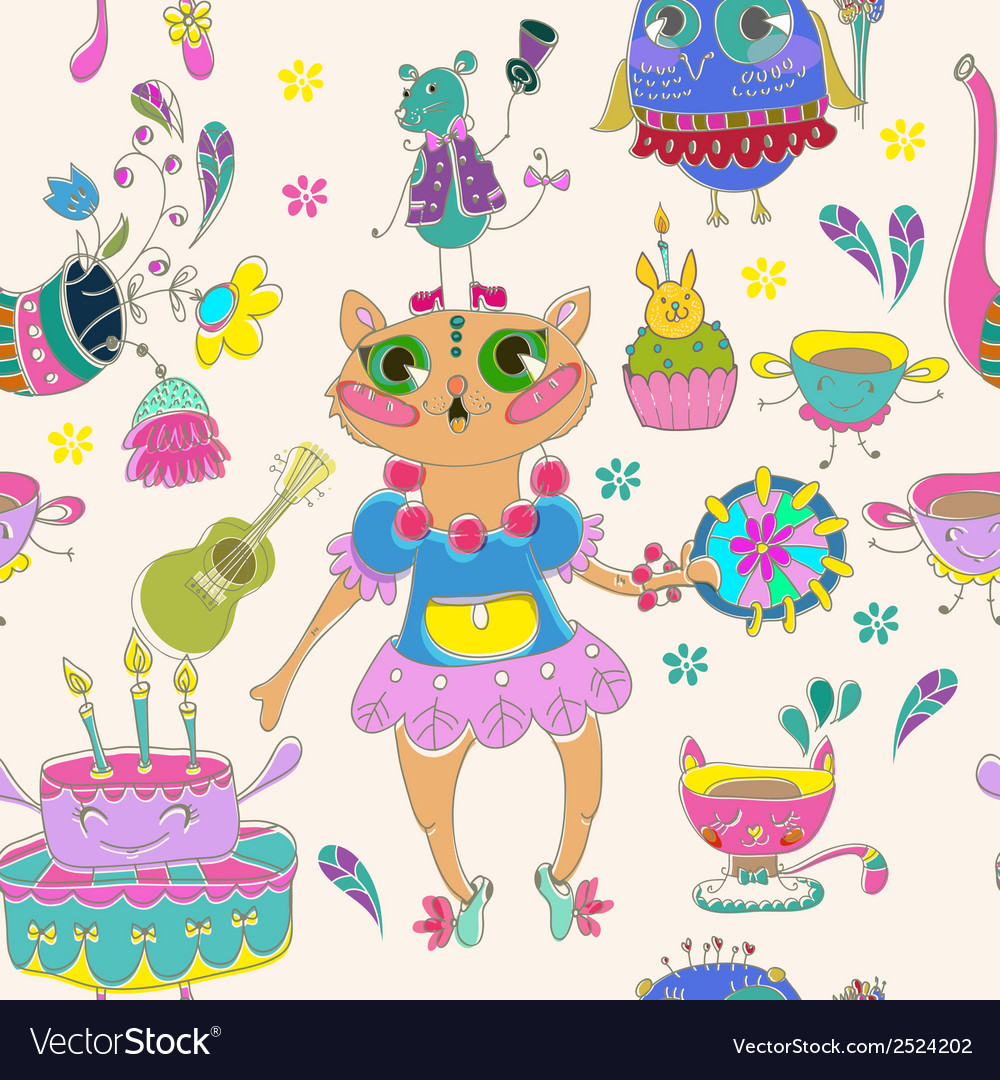 Cartoon color animal party vector | Price: 1 Credit (USD $1)