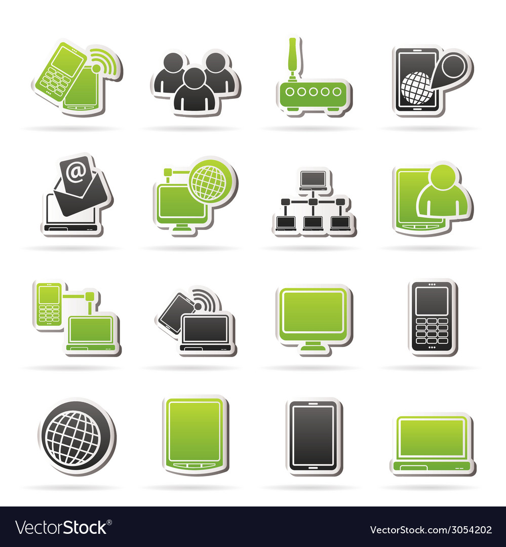 Communication and technology equipment icons vector | Price: 1 Credit (USD $1)