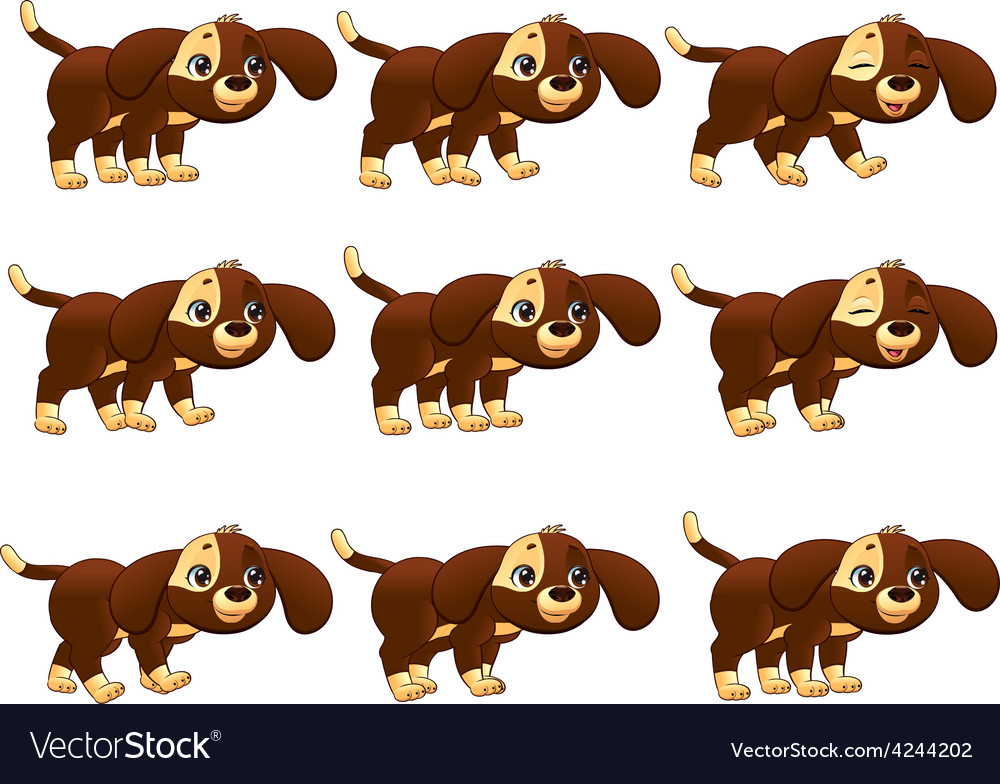 Dog walking animation vector