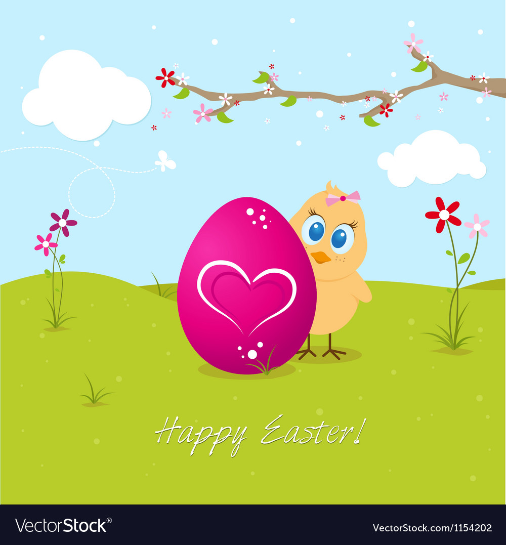 Easter chicken with big egg vector | Price: 1 Credit (USD $1)