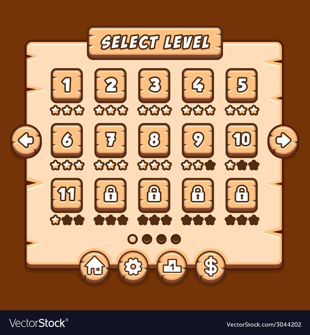 Game wooden menu interface panels buttons vector | Price: 1 Credit (USD $1)