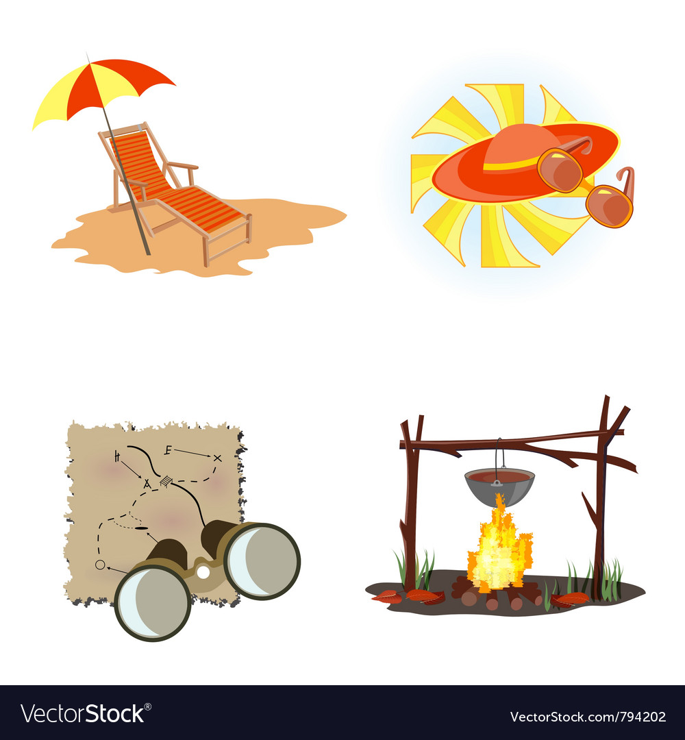 Holiday icons beach vector | Price: 1 Credit (USD $1)