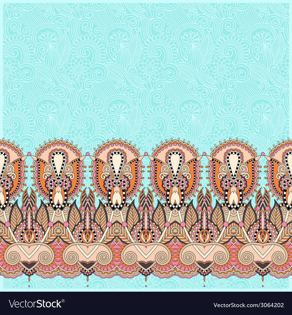 Ornamental background with flower ribbon stripe vector | Price: 1 Credit (USD $1)