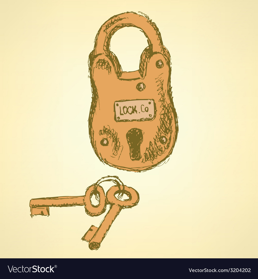 Sketch padlock with keys in vintage style vector | Price: 1 Credit (USD $1)