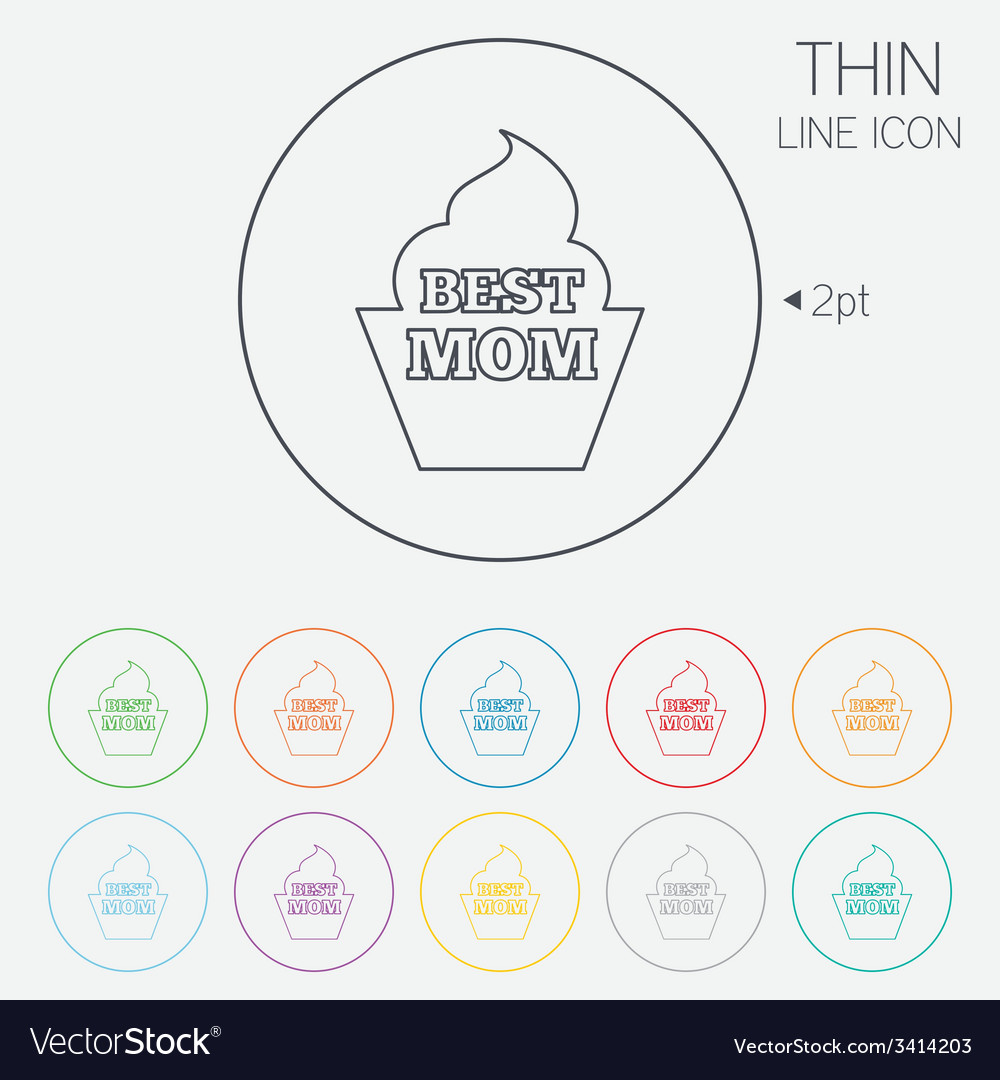 Best mom sign icon muffin food symbol vector | Price: 1 Credit (USD $1)