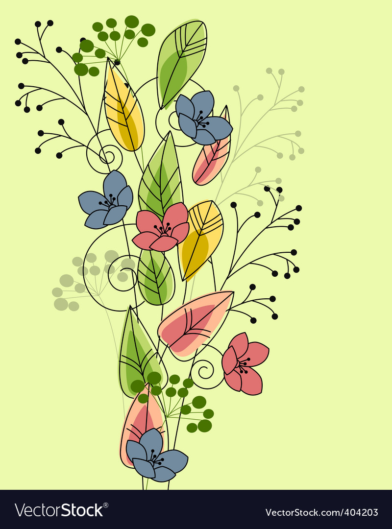 Floral background with stylized flowers vector | Price: 1 Credit (USD $1)