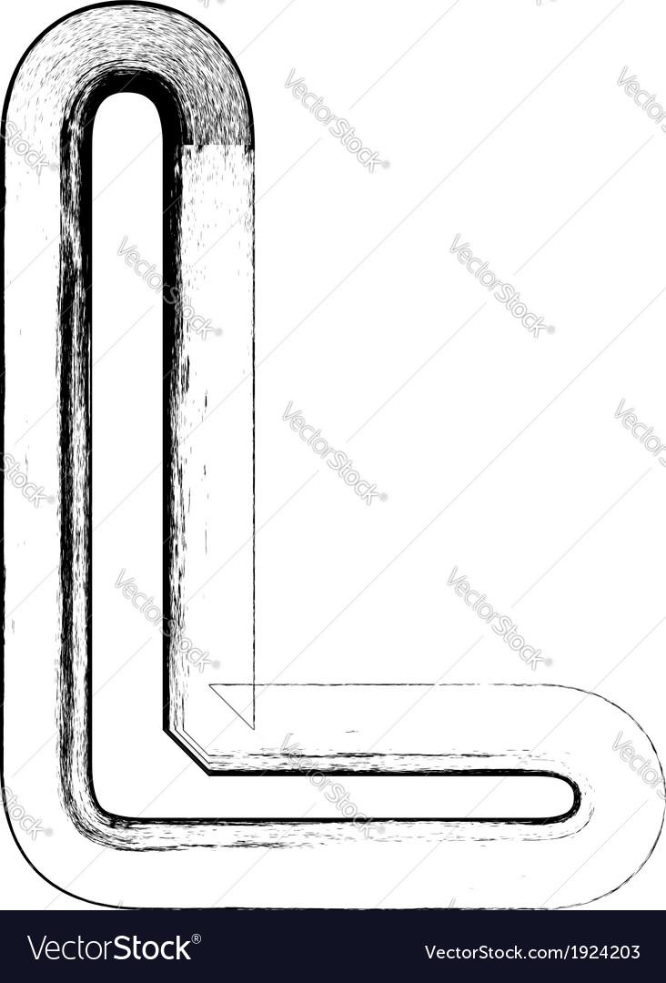Grunge font letter l vector | Price: 1 Credit (USD $1)