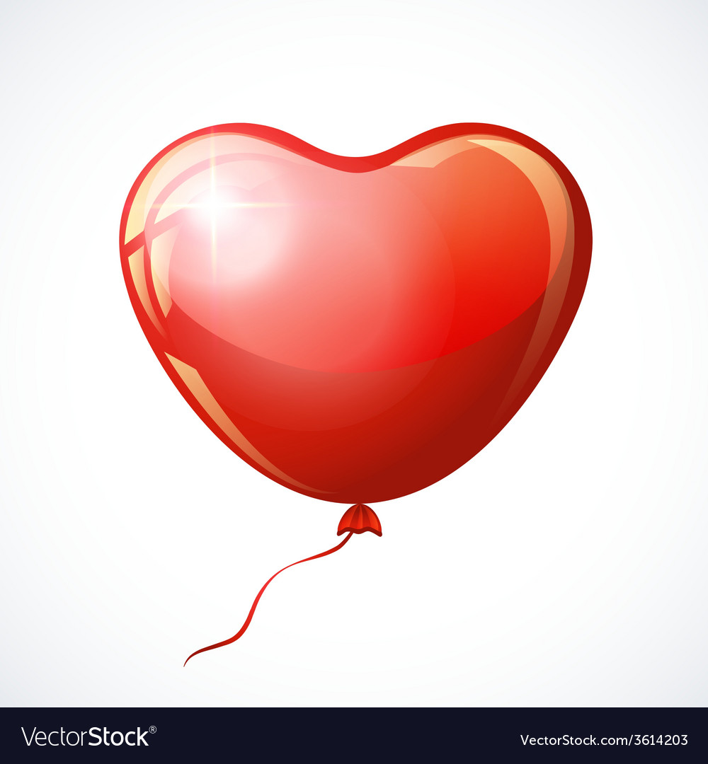 Heart shaped red balloon isolated on white vector | Price: 1 Credit (USD $1)