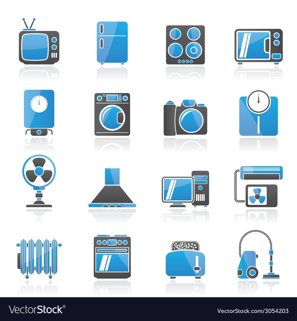 Home appliances and electronics icons vector | Price: 1 Credit (USD $1)
