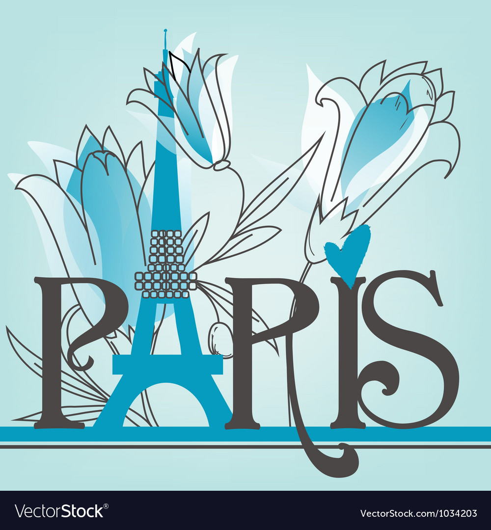 Paris lettering with lilies vector | Price: 1 Credit (USD $1)