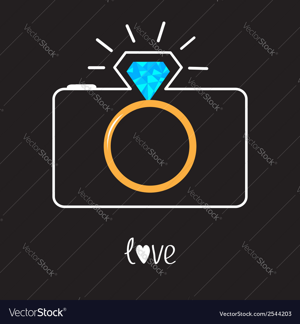 Photo camera and diamond shining flash gold vector | Price: 1 Credit (USD $1)