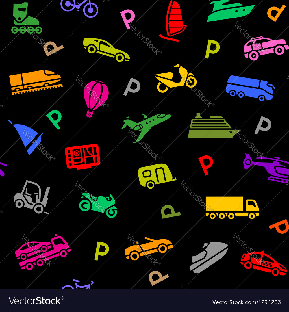 Seamless background transport colored icons vector | Price: 1 Credit (USD $1)