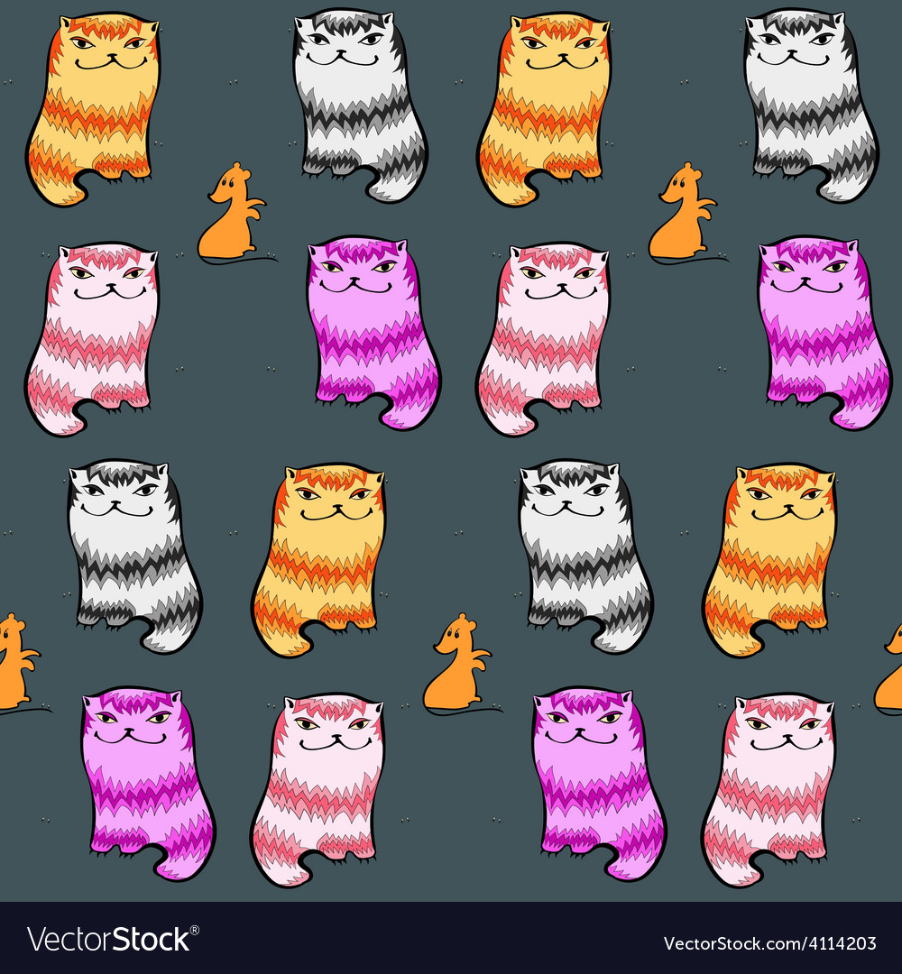 Seamless pattern with glad fat cartoon cats mice vector | Price: 1 Credit (USD $1)
