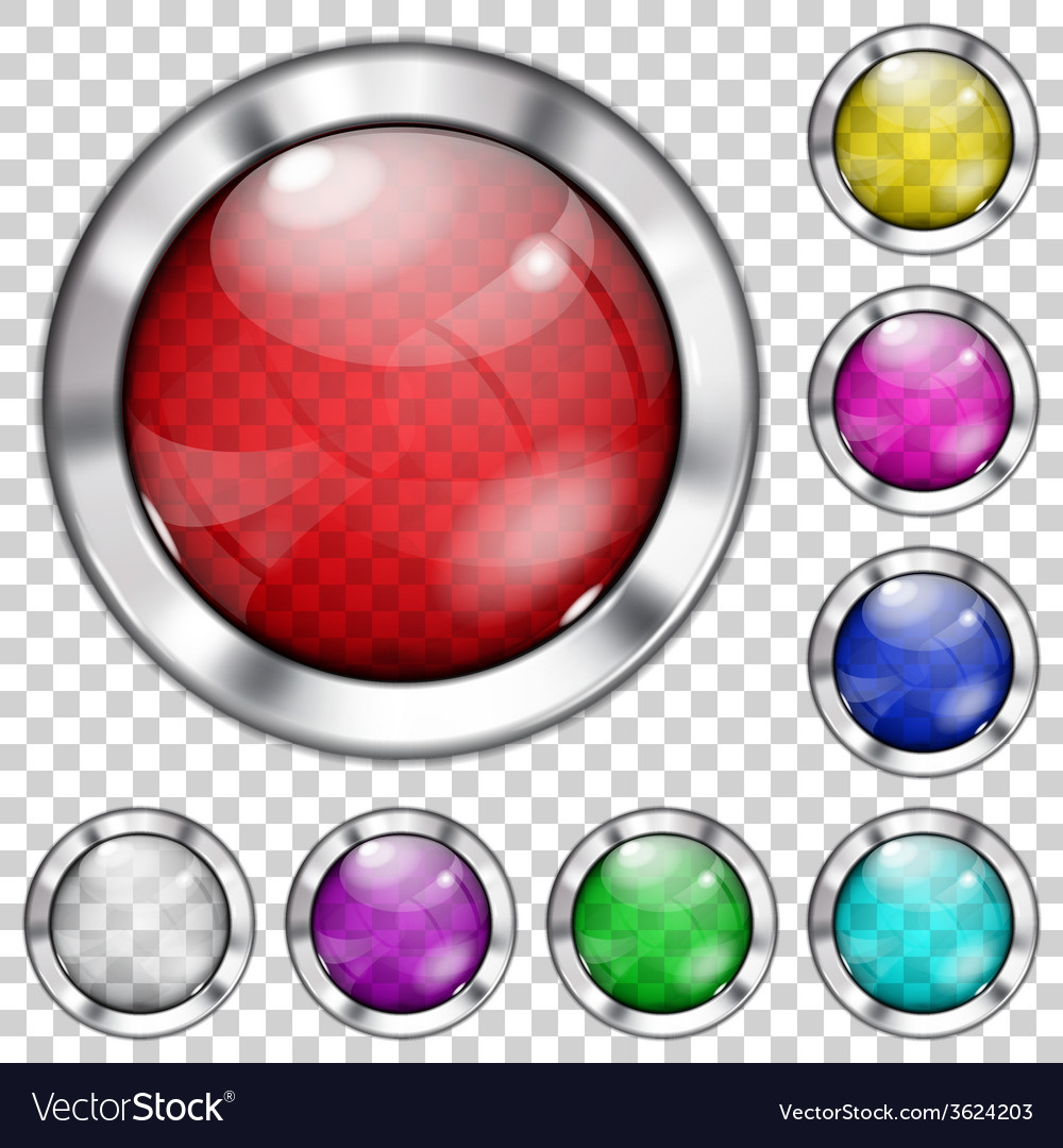 Set of transparent glass buttons vector | Price: 1 Credit (USD $1)