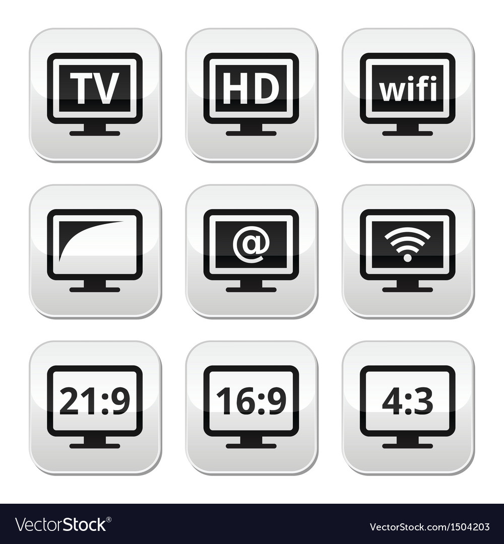 Tv monitor screen buttons set vector | Price: 1 Credit (USD $1)