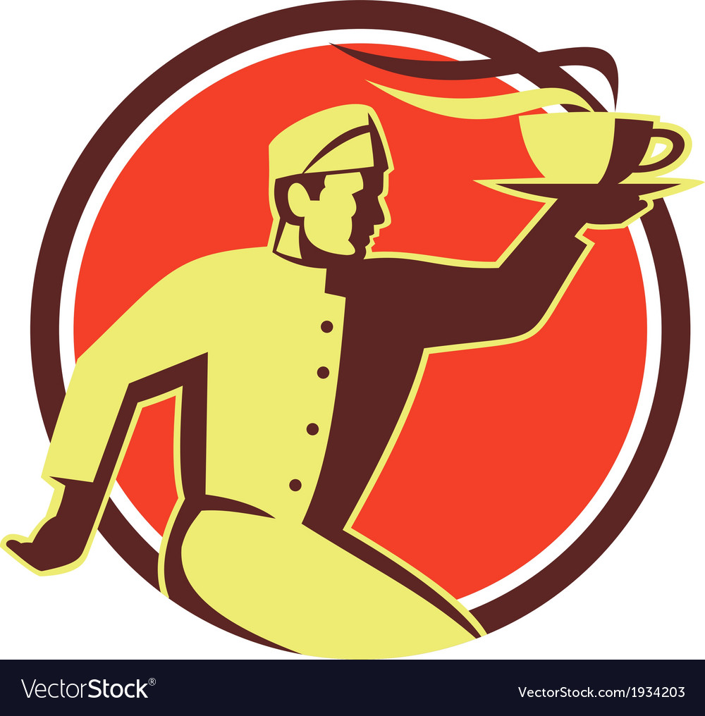 Waiter serving coffee cup retro vector | Price: 1 Credit (USD $1)