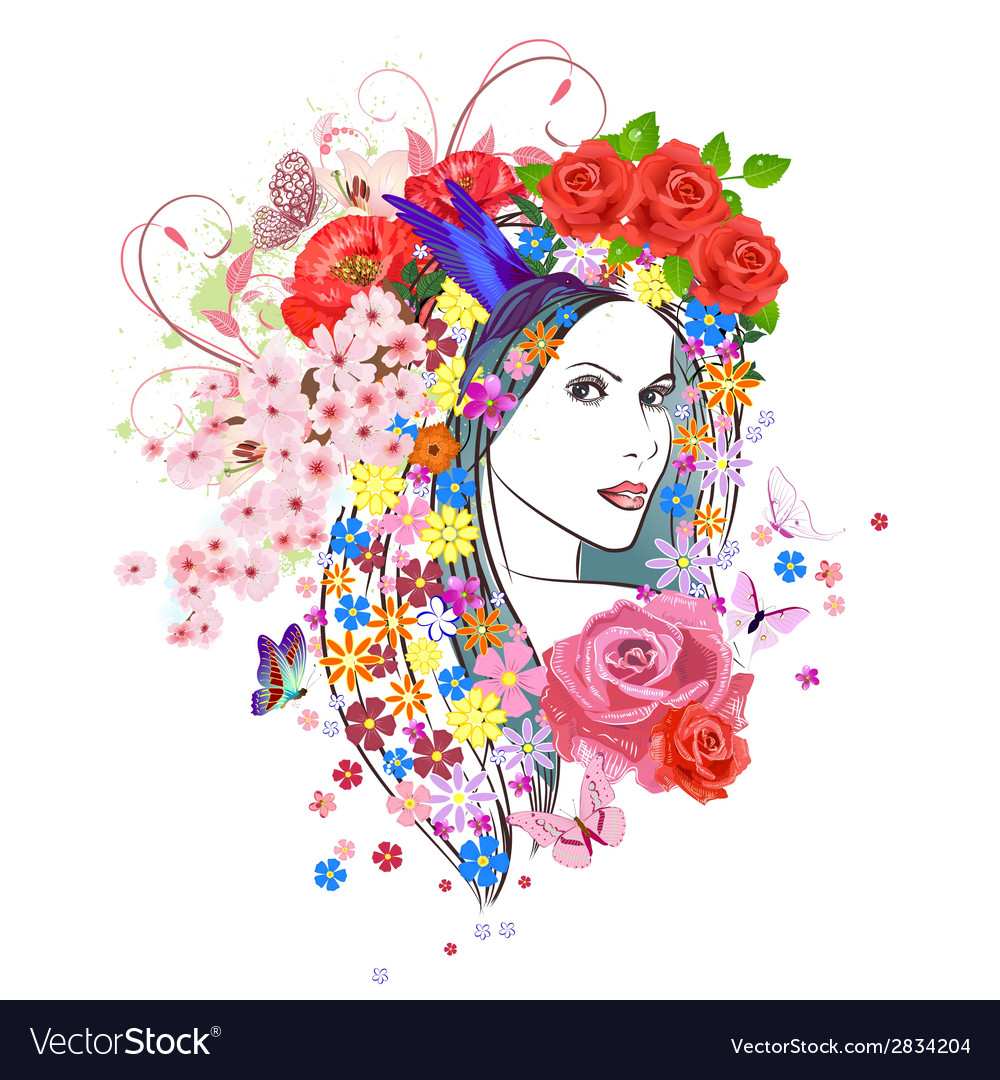 Beautiful fashion young woman with flowers in hair vector | Price: 1 Credit (USD $1)
