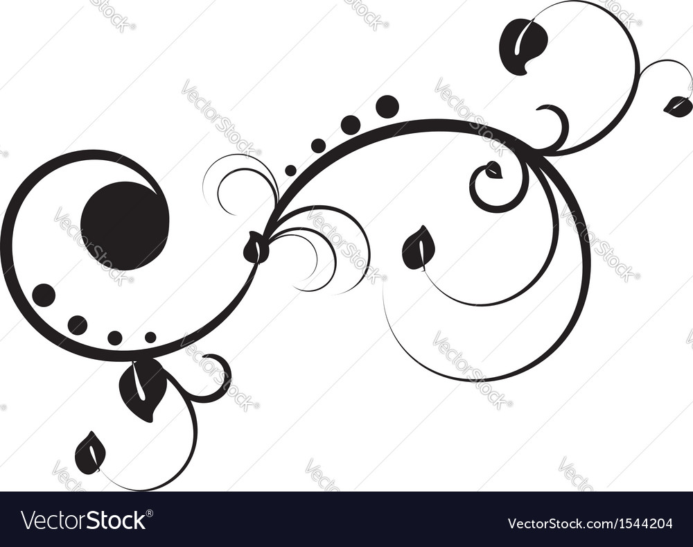Black floral ornament vector | Price: 1 Credit (USD $1)