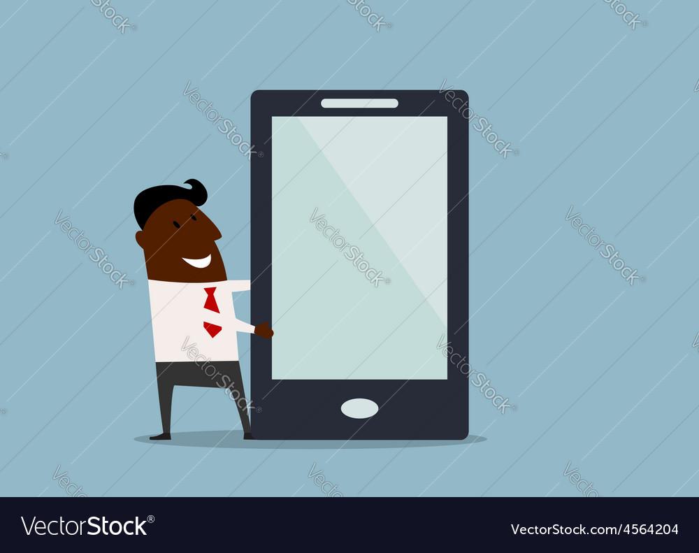 Businessman making presentation on a tablet vector | Price: 1 Credit (USD $1)