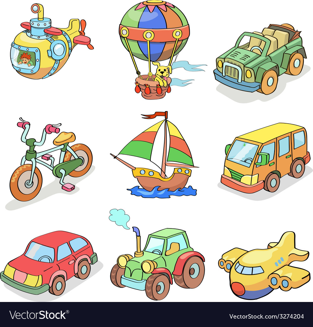 Cartoon collection of transportation- colored vector | Price: 1 Credit (USD $1)