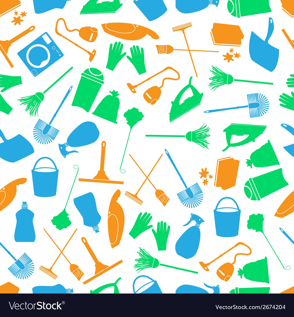 Cleaning icons color seamless pattern eps10 vector | Price: 1 Credit (USD $1)