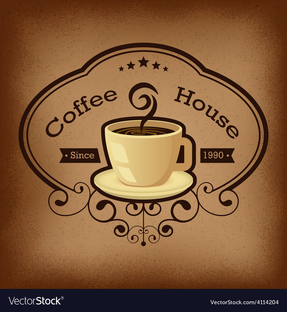 Coffee with label over vintage background vector | Price: 1 Credit (USD $1)