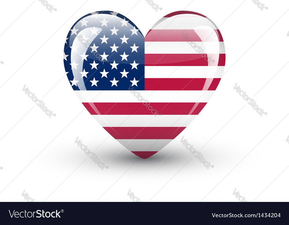 Heart-shaped icon with national flag of the usa vector | Price: 1 Credit (USD $1)