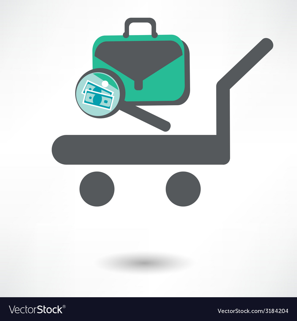 Luggage trolley icon vector | Price: 1 Credit (USD $1)
