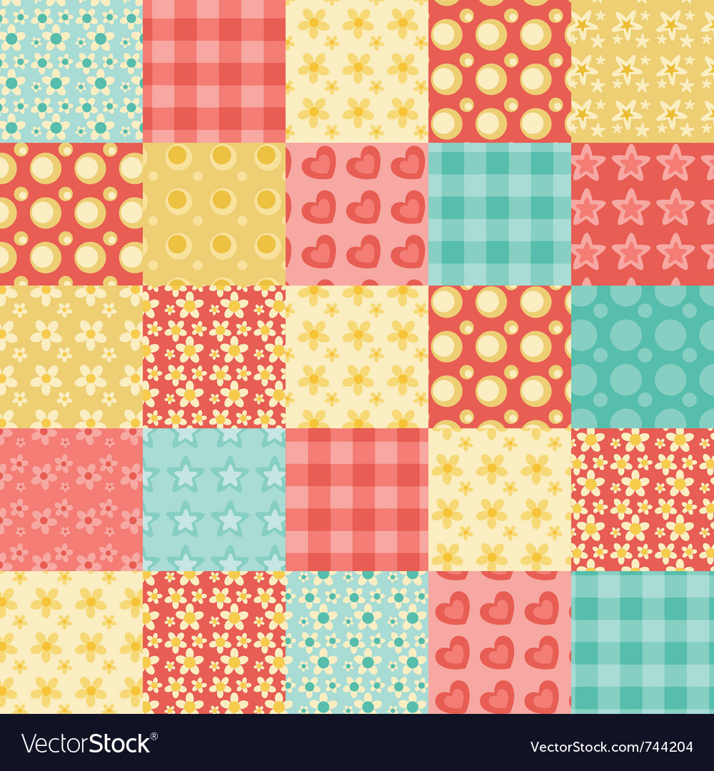 Seamless patchwork pattern vector | Price: 1 Credit (USD $1)