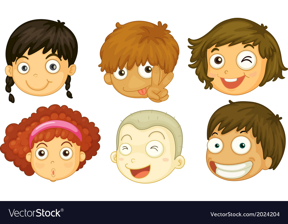 Six heads of different kids vector   Price: 1 Credit (USD $1)