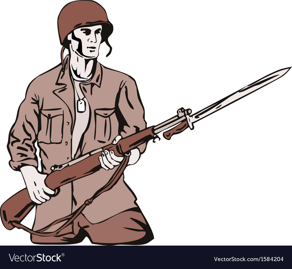 Soldier with bayonet vector | Price: 1 Credit (USD $1)