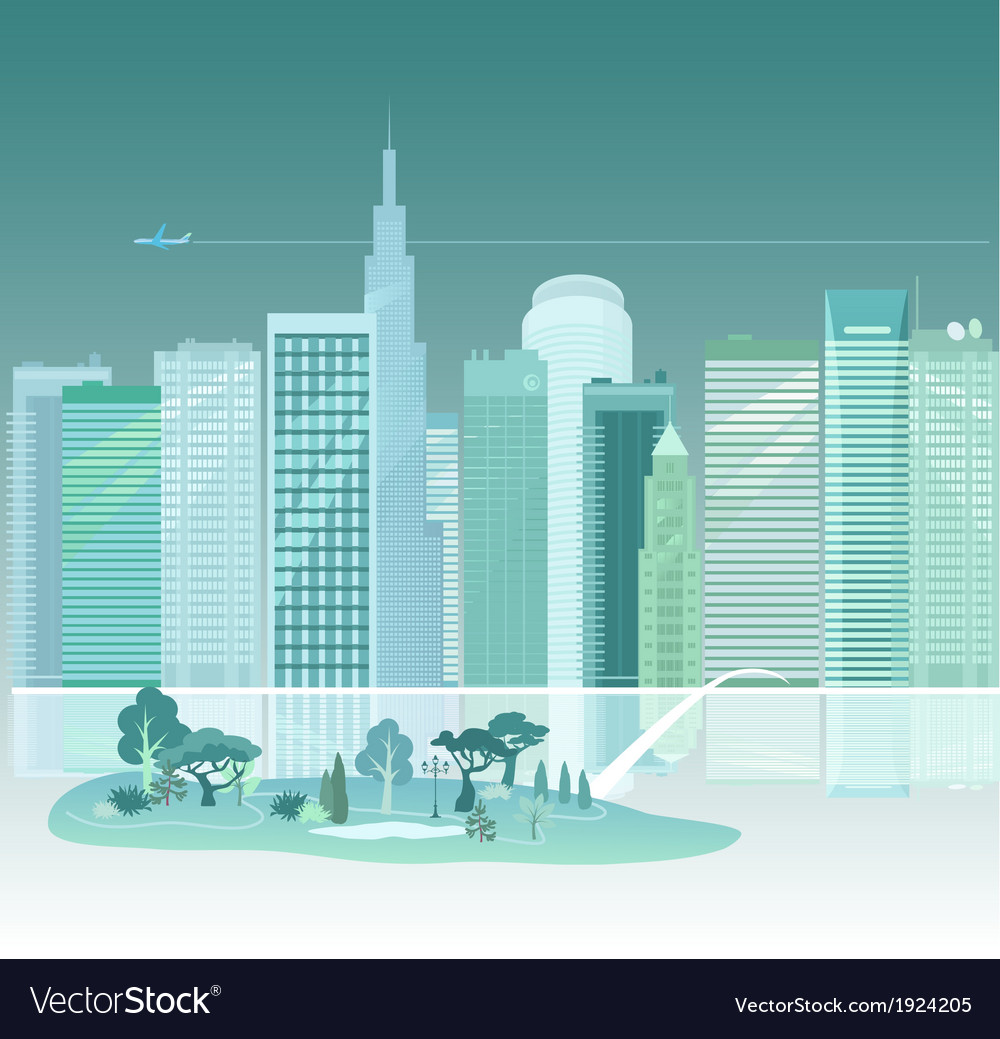 City and park vector | Price: 1 Credit (USD $1)