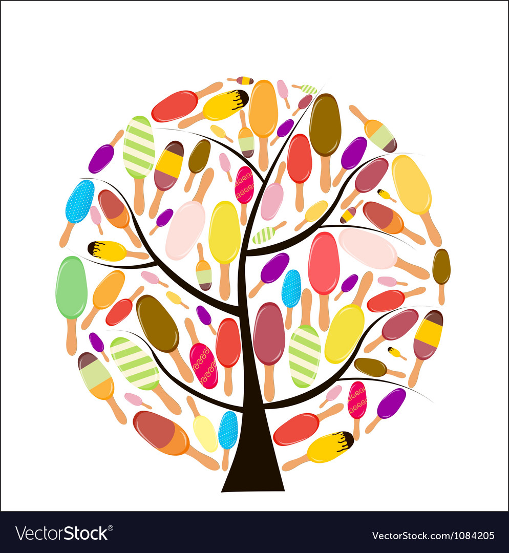 Colorful popsicles on tree vector | Price: 1 Credit (USD $1)