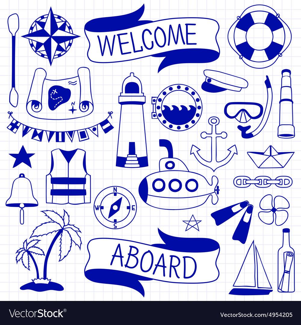 Doodle hand drawn nautical decor set vector