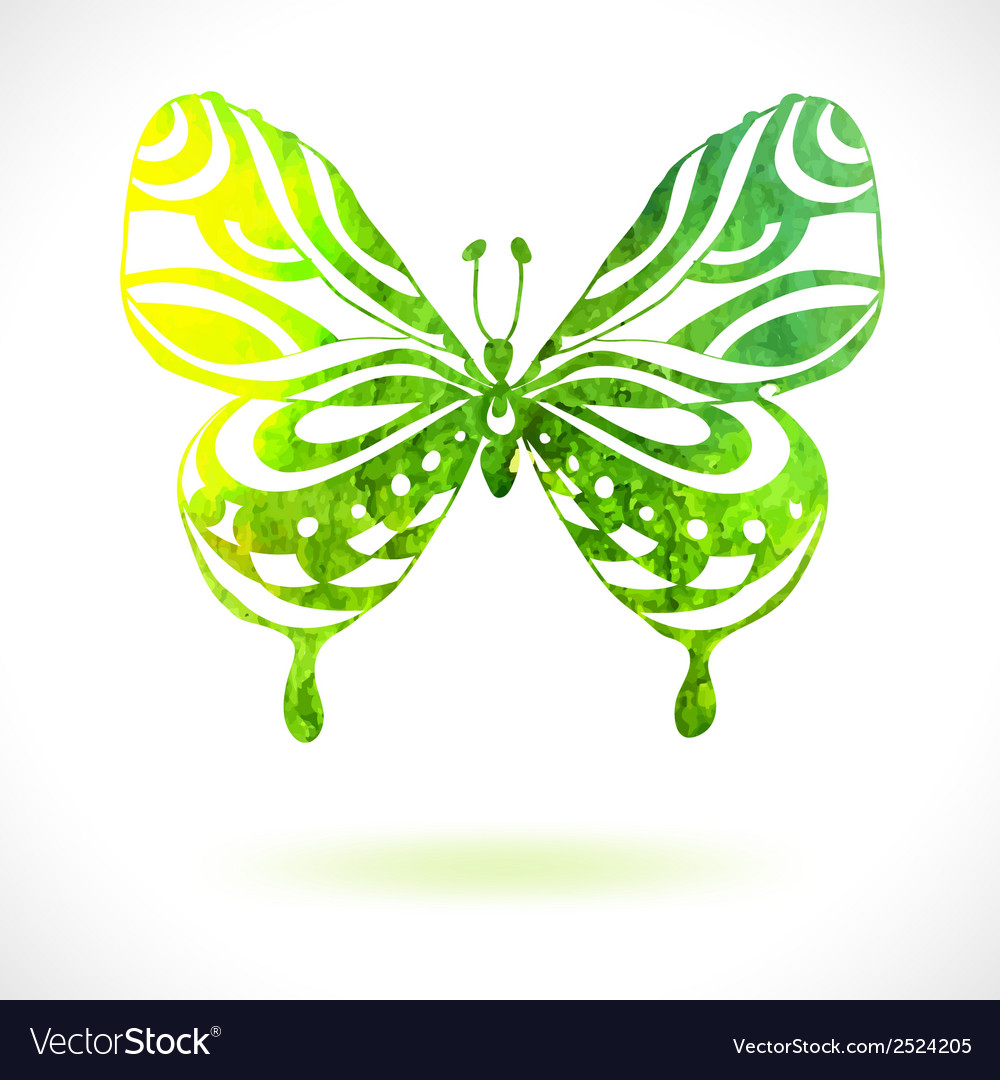 Green color background with watercolor butterfly vector | Price: 1 Credit (USD $1)