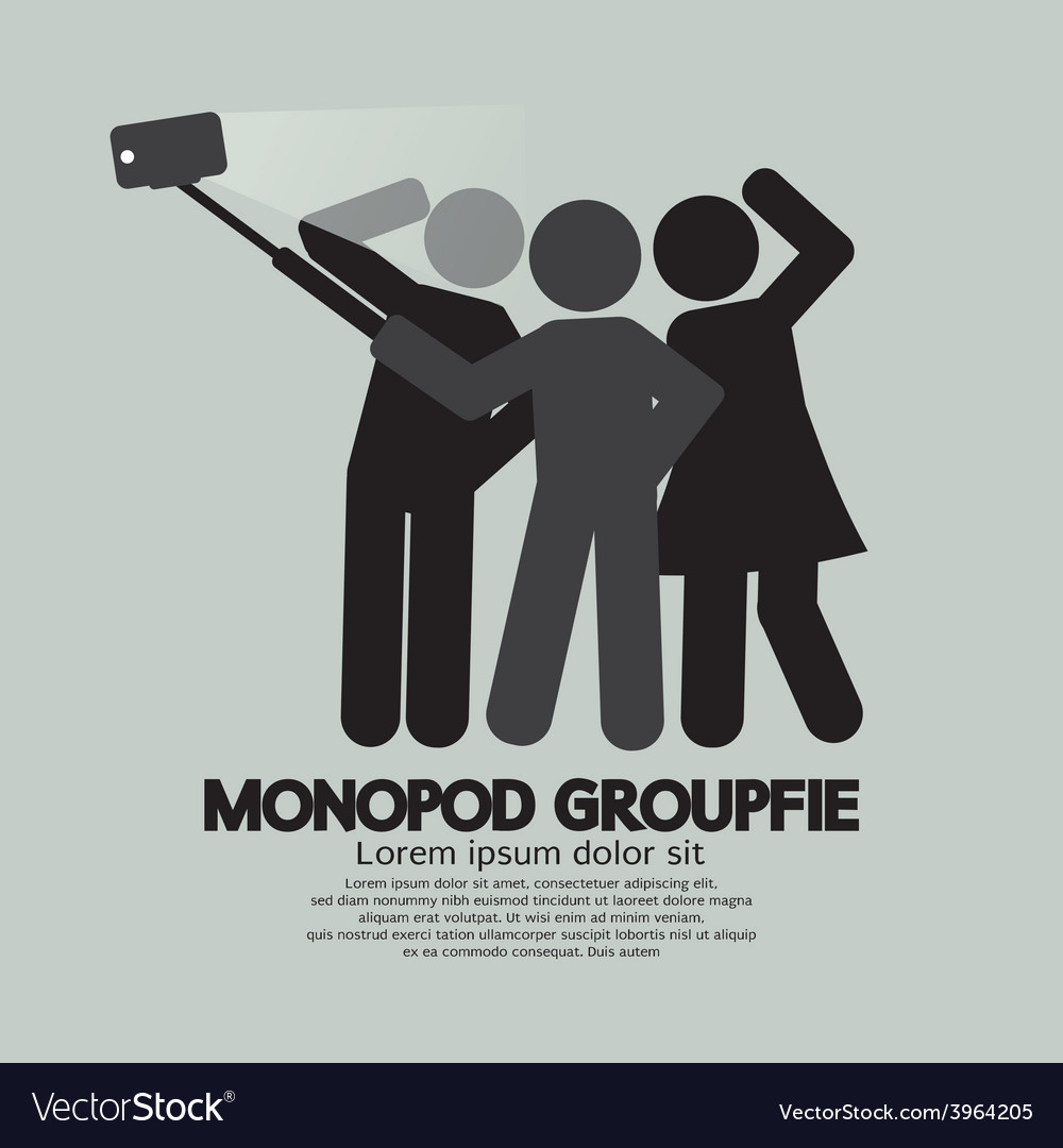 Groupfie symbol a group selfie using monopod vector | Price: 1 Credit (USD $1)