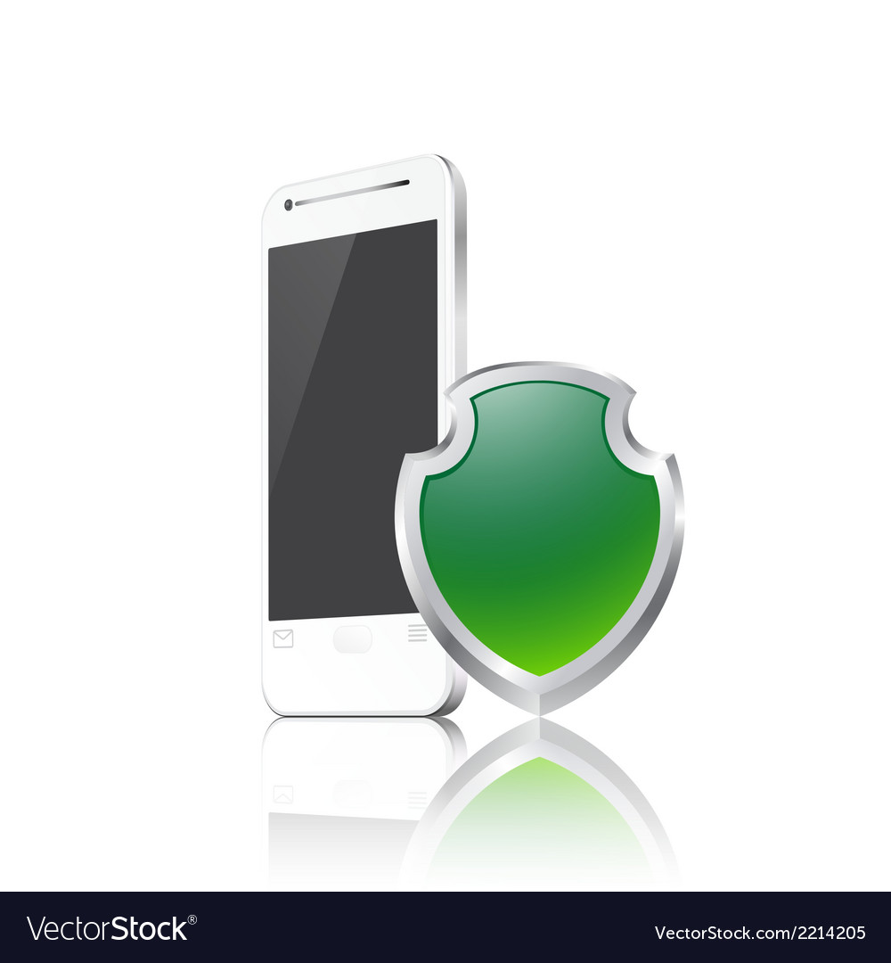 Mobile phone with shield vector | Price: 1 Credit (USD $1)