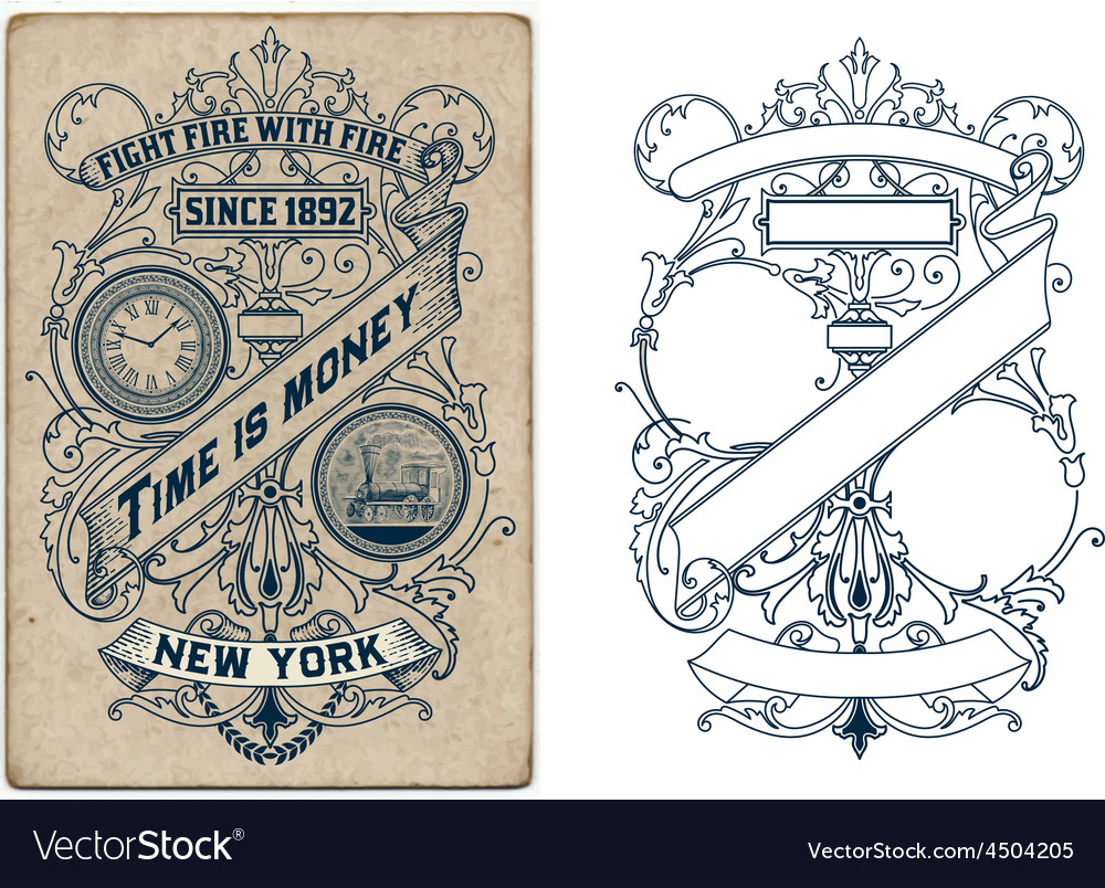 Old design with floral details elements organized vector | Price: 1 Credit (USD $1)